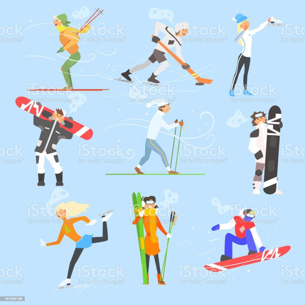 Winter Sports and Activities. Vector Illustration Set vector art illustration