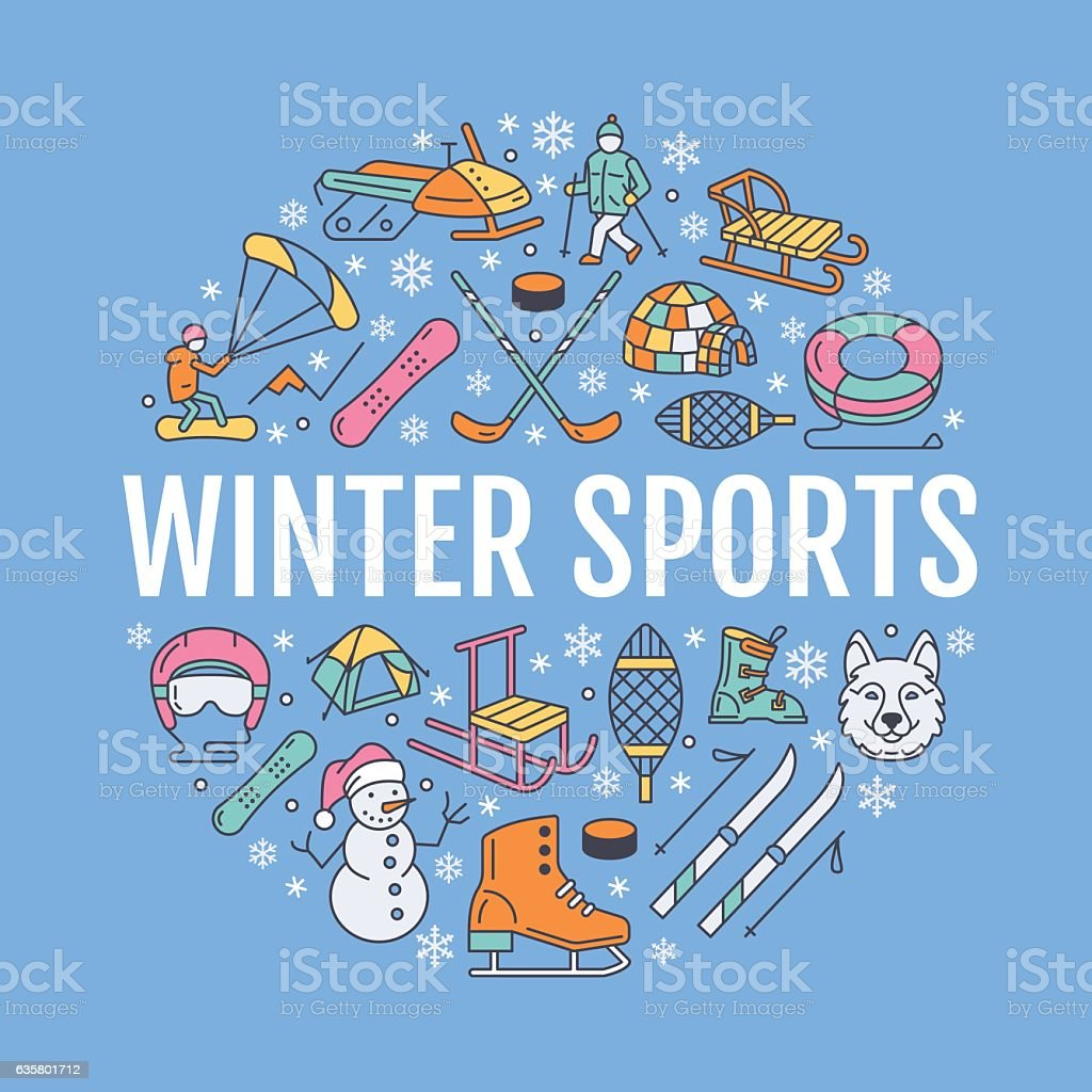 Winter sports banner, equipment rent at ski resort. Vector line icon...