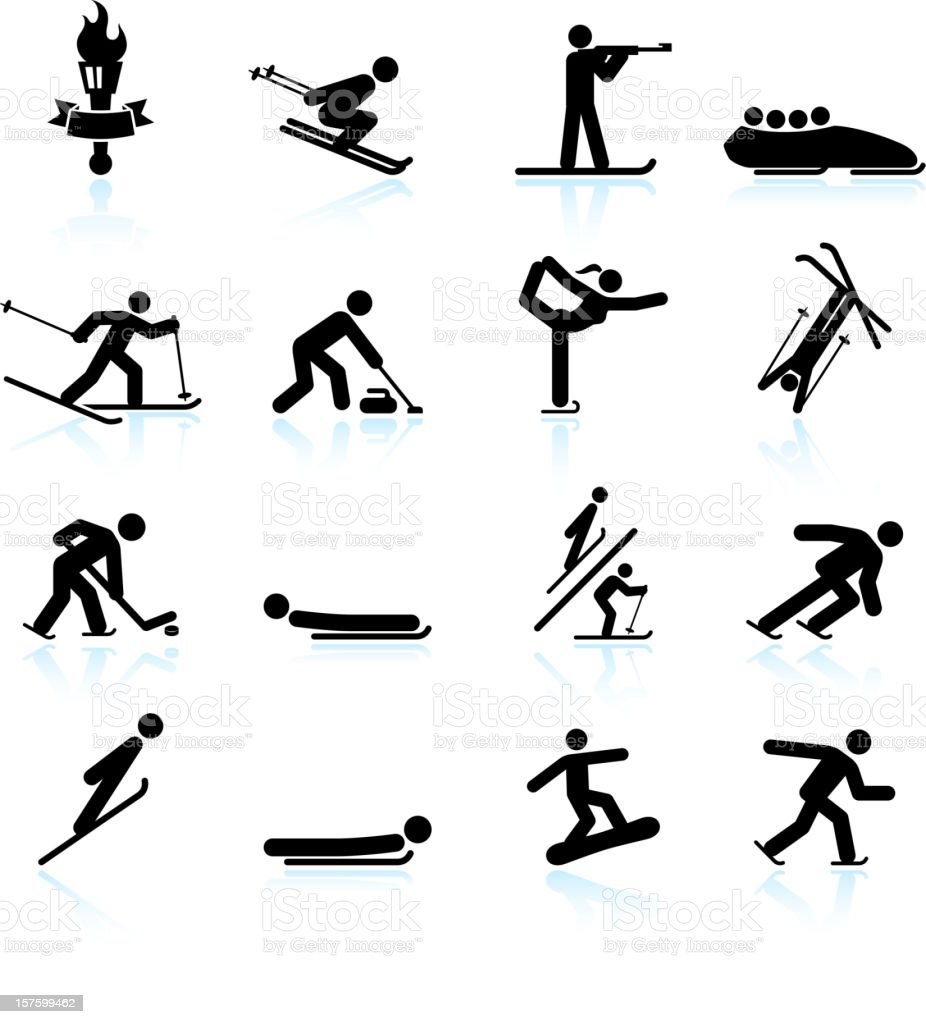 Winter sports black & white royalty free vector icon set royalty-free stock vector art