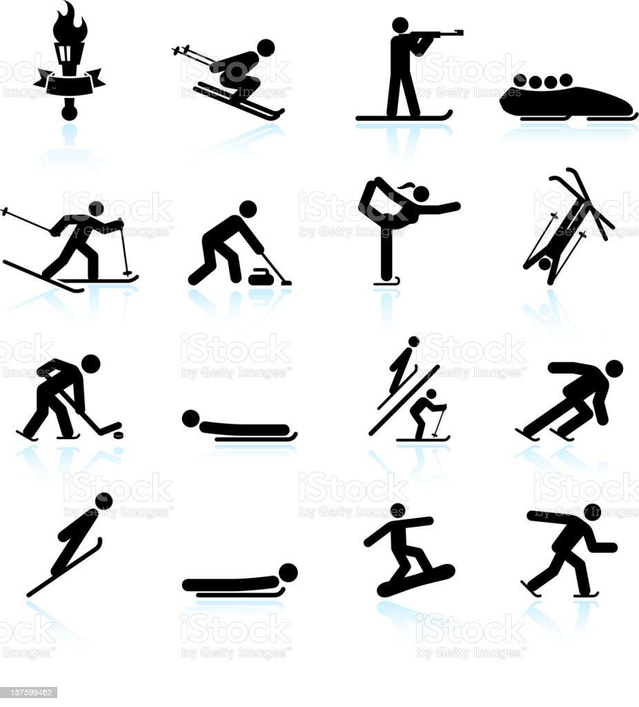 Winter sports black & white royalty free vector icon set vector art illustration