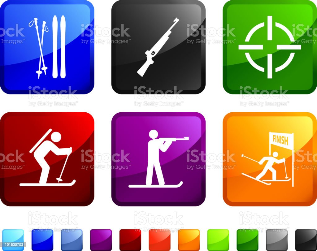 Winter Sports Competition royalty free vector icon set vector art illustration