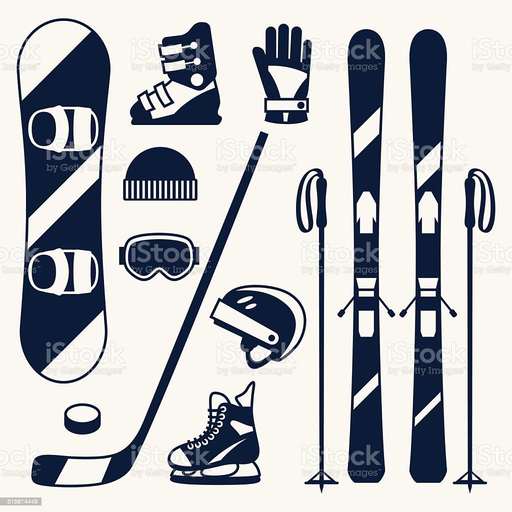 Winter sports equipment icons set in flat design style. vector art illustration