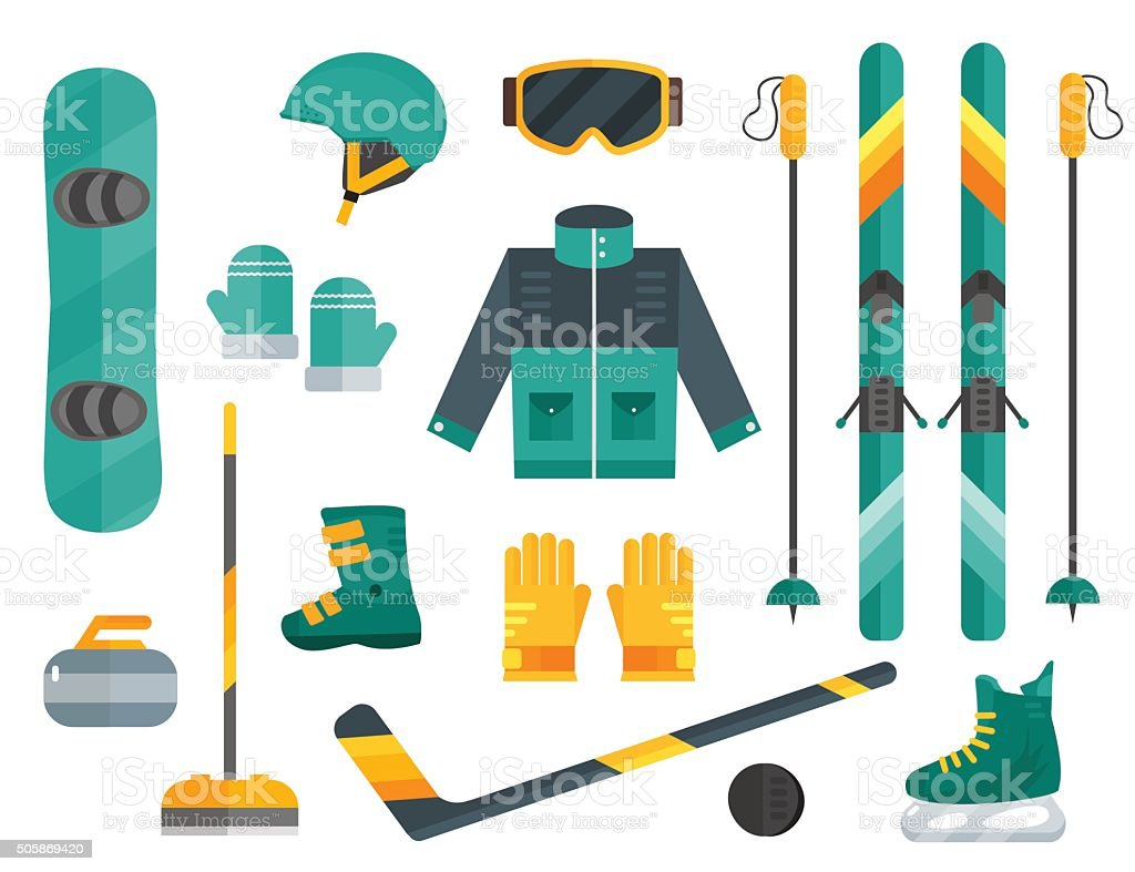 Winter sports equipment set: ski, curling, skates,  helmet vector art illustration