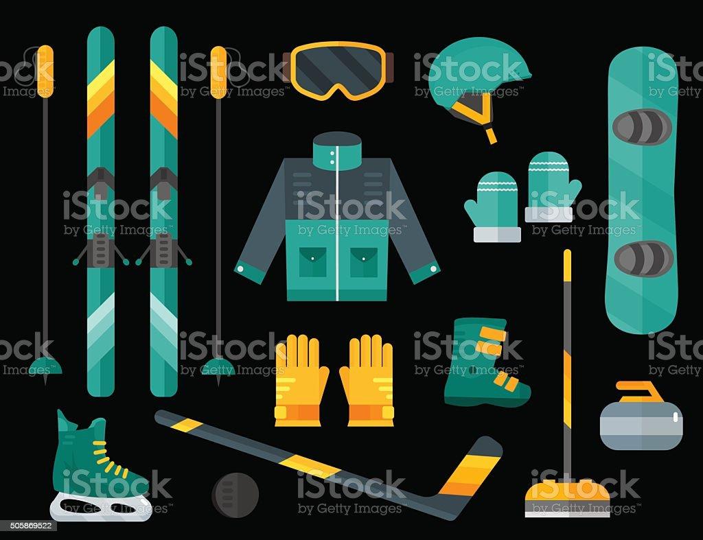Winter sports equipment set: ski, curling, skates,  helmet vector art illustration