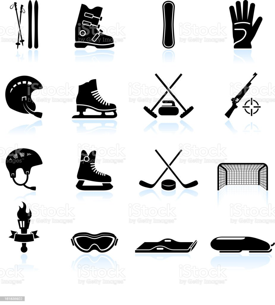 Winter sports gear black and white vector icon set vector art illustration