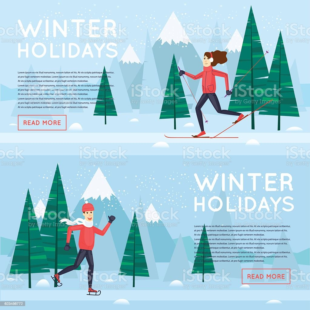 Winter sports. Guy skating girl skiing. Banners. Flat design vector...