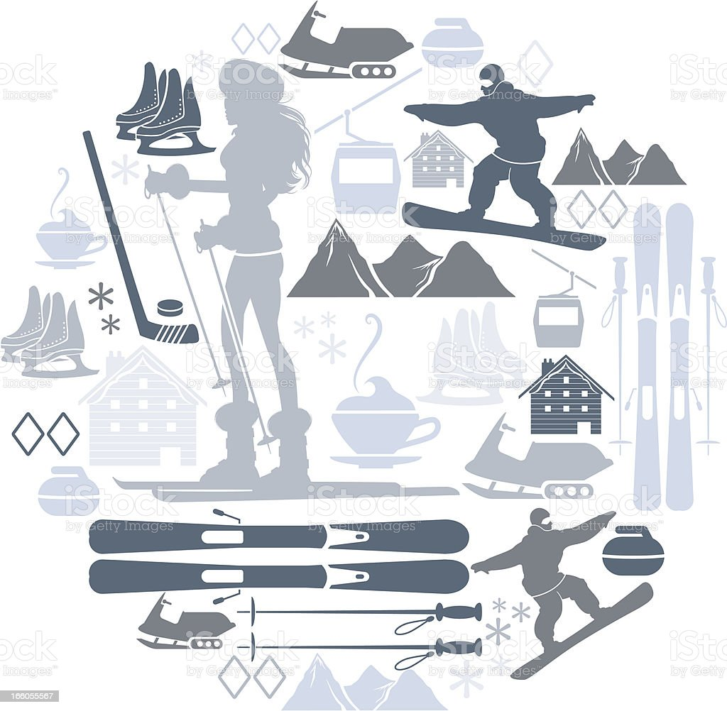 Winter sports icons in grey tones on a white background vector art illustration