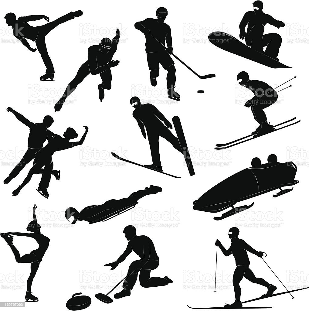 Winter sports silhouettes royalty-free stock vector art
