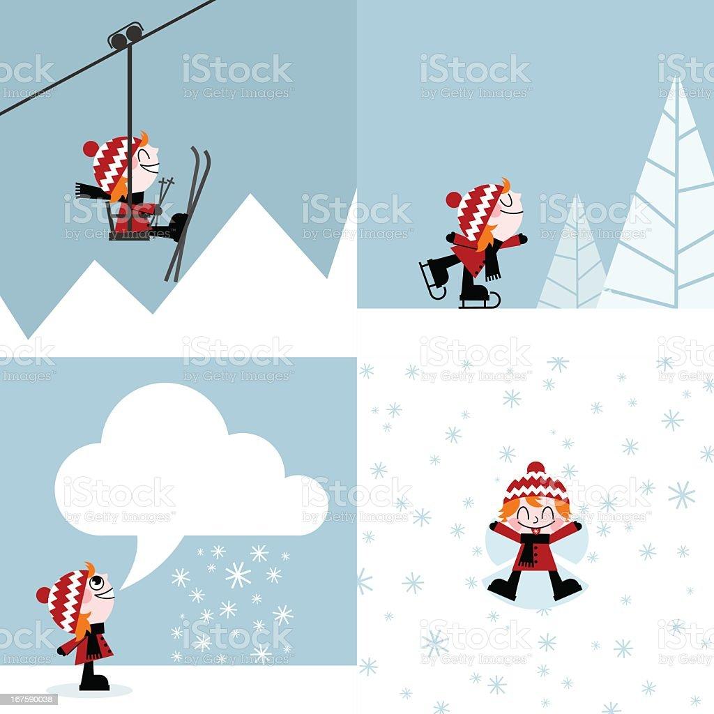 winter sports skiing skating snow mountain kid illustration vector vector art illustration
