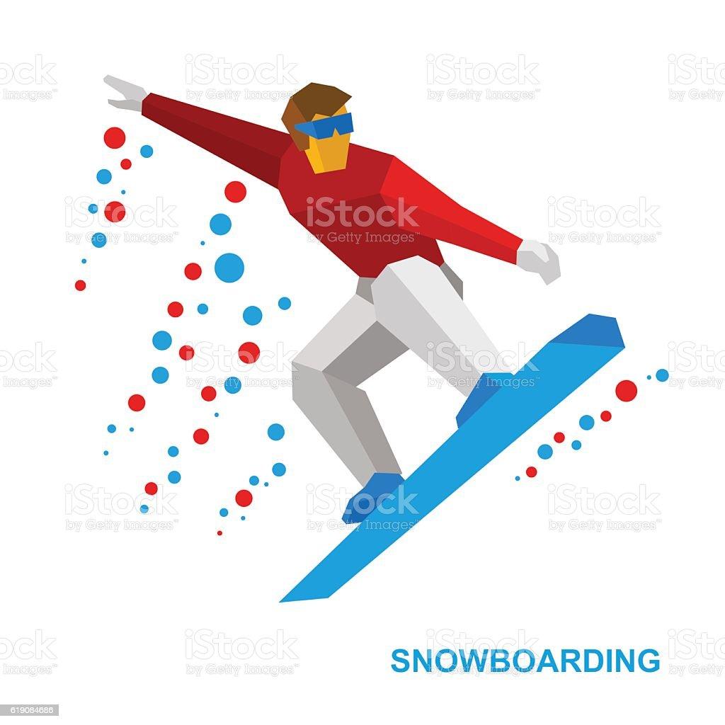 Winter sports - snowboarding. Cartoon snowboarder during a jump....