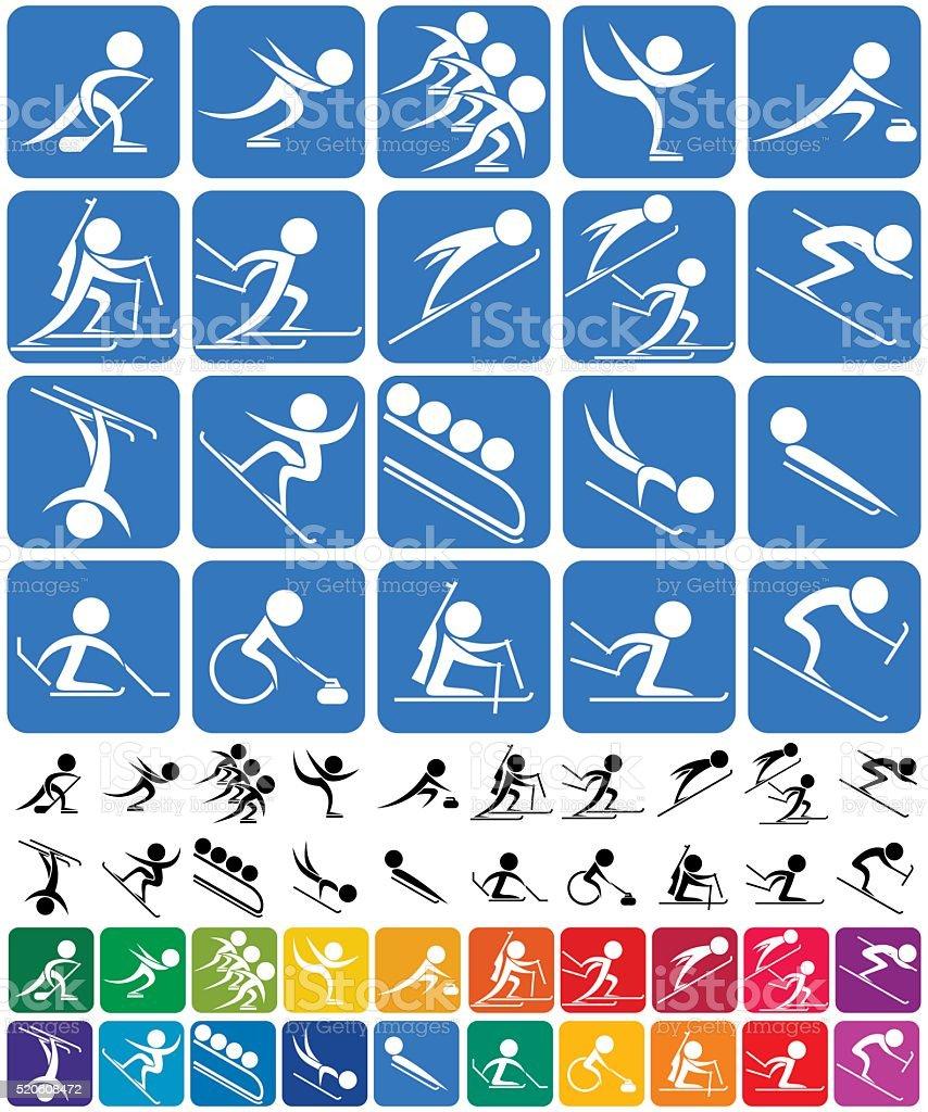 Winter Sports Symbols. vector art illustration