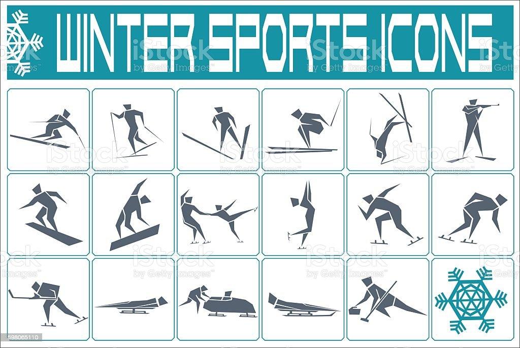 winter sports vector art illustration