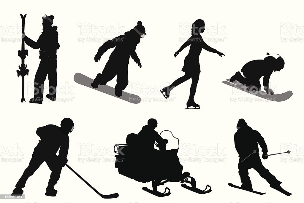 Winter Sports Vector Silhouette royalty-free stock vector art