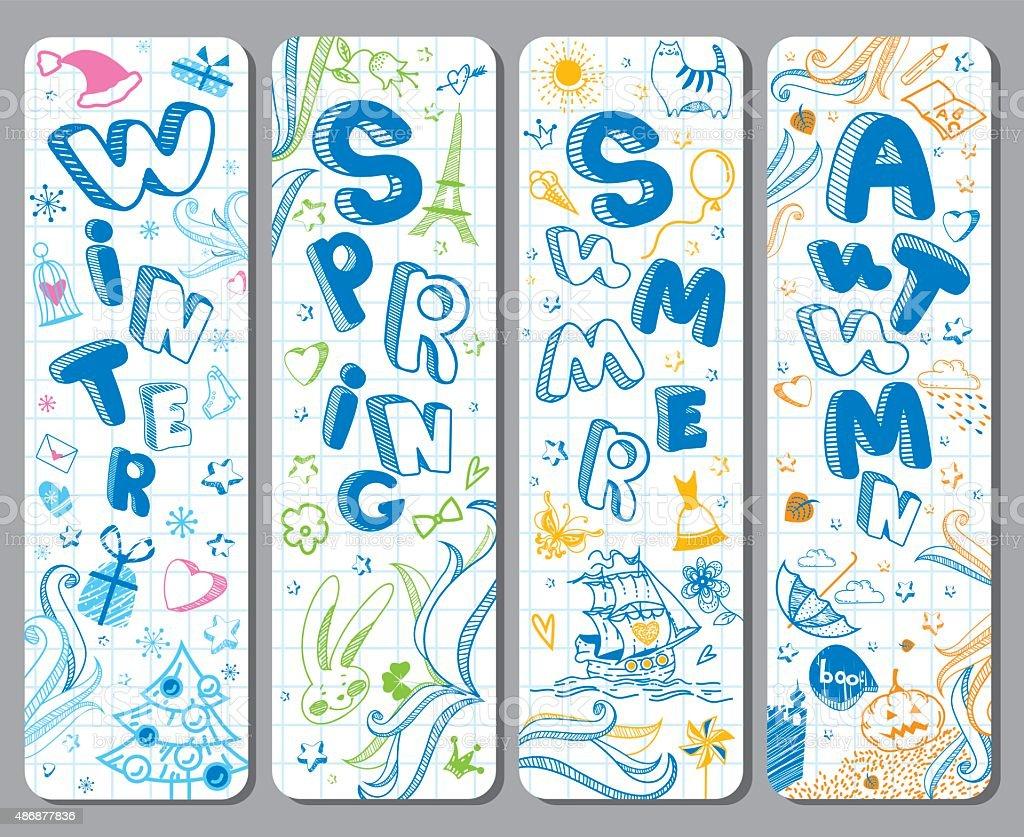 Winter, Spring, Summer, Autumn. Calendar greeting vector art illustration