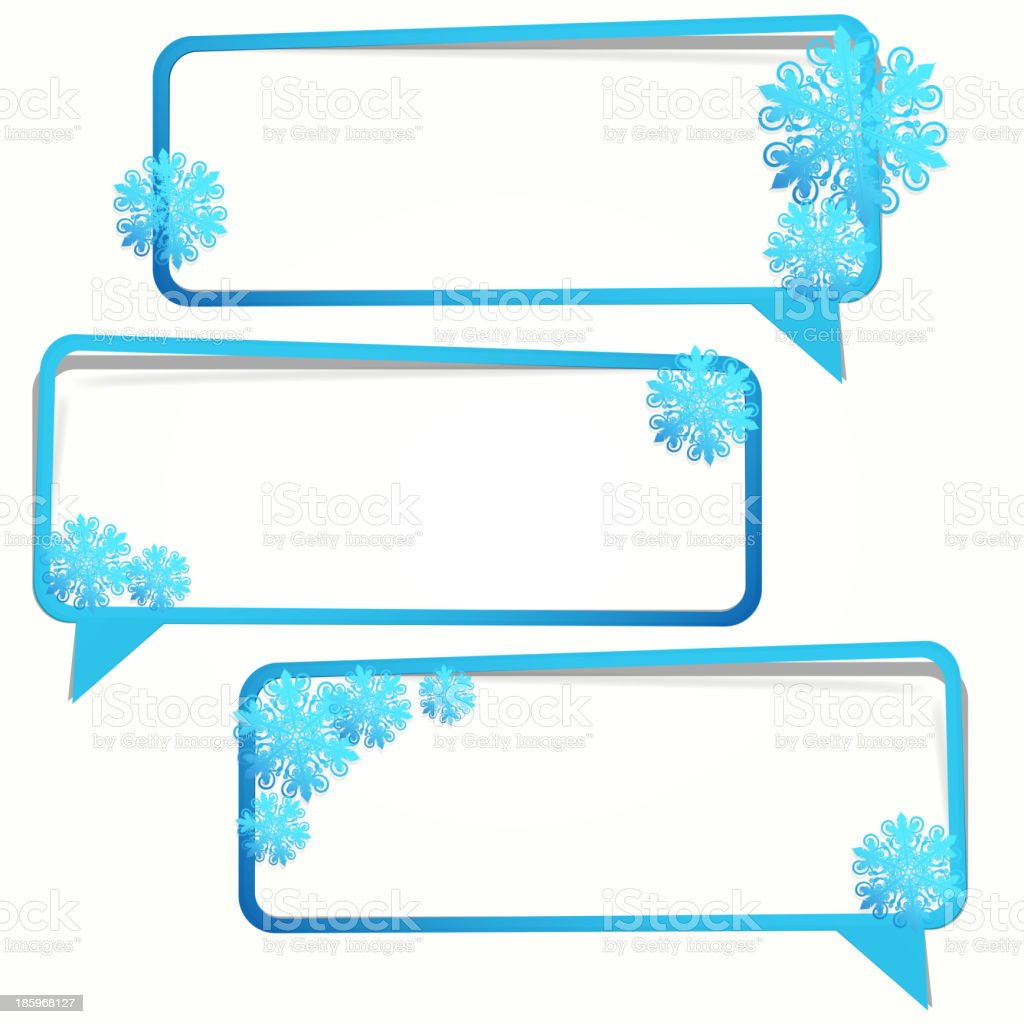 Winter sticker in the form of an empty frame royalty-free stock vector art