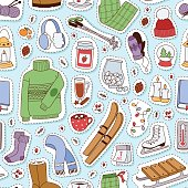 Winter stickers seamless pattern vector illustration.