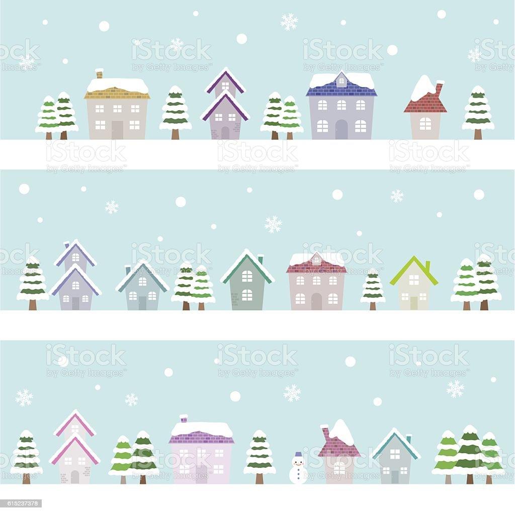 winter suburban houses vector art illustration