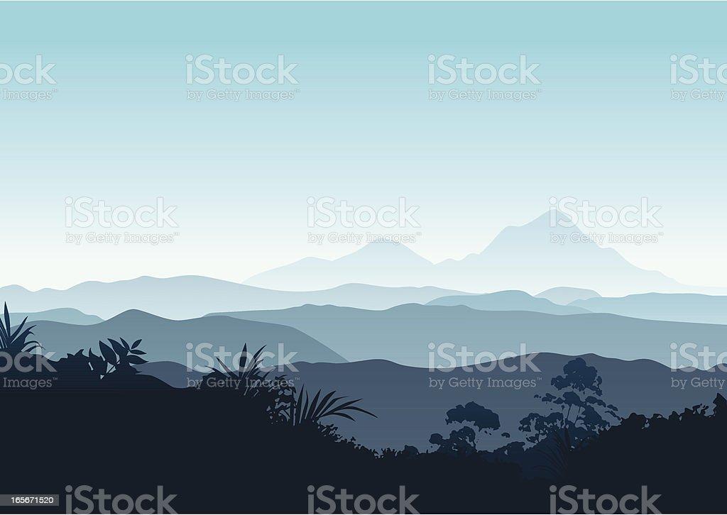 Winter sunrise in the mountains vector art illustration
