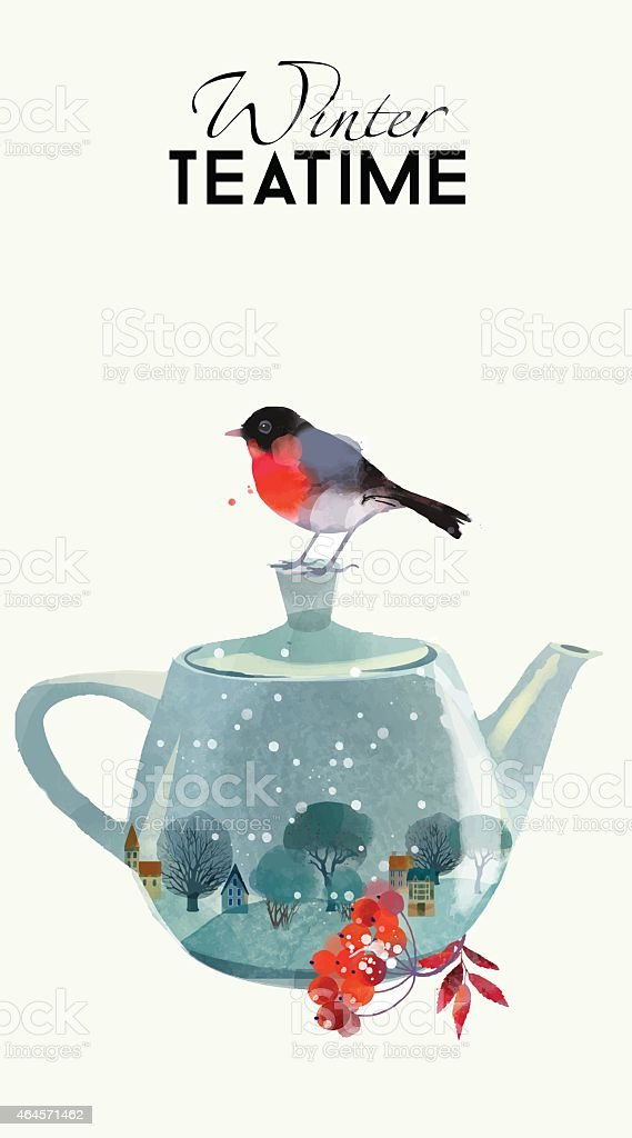 A winter tea time image with a tea pot and bird vector art illustration