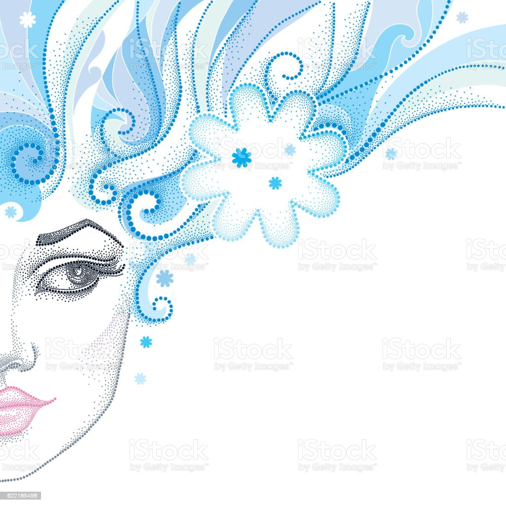 Winter theme with beautiful woman face and snowflakes. vector art illustration