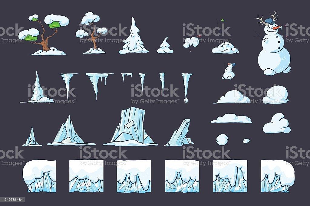 Winter Tile set for Platformer Game, Seamless vector ground blocks vector art illustration