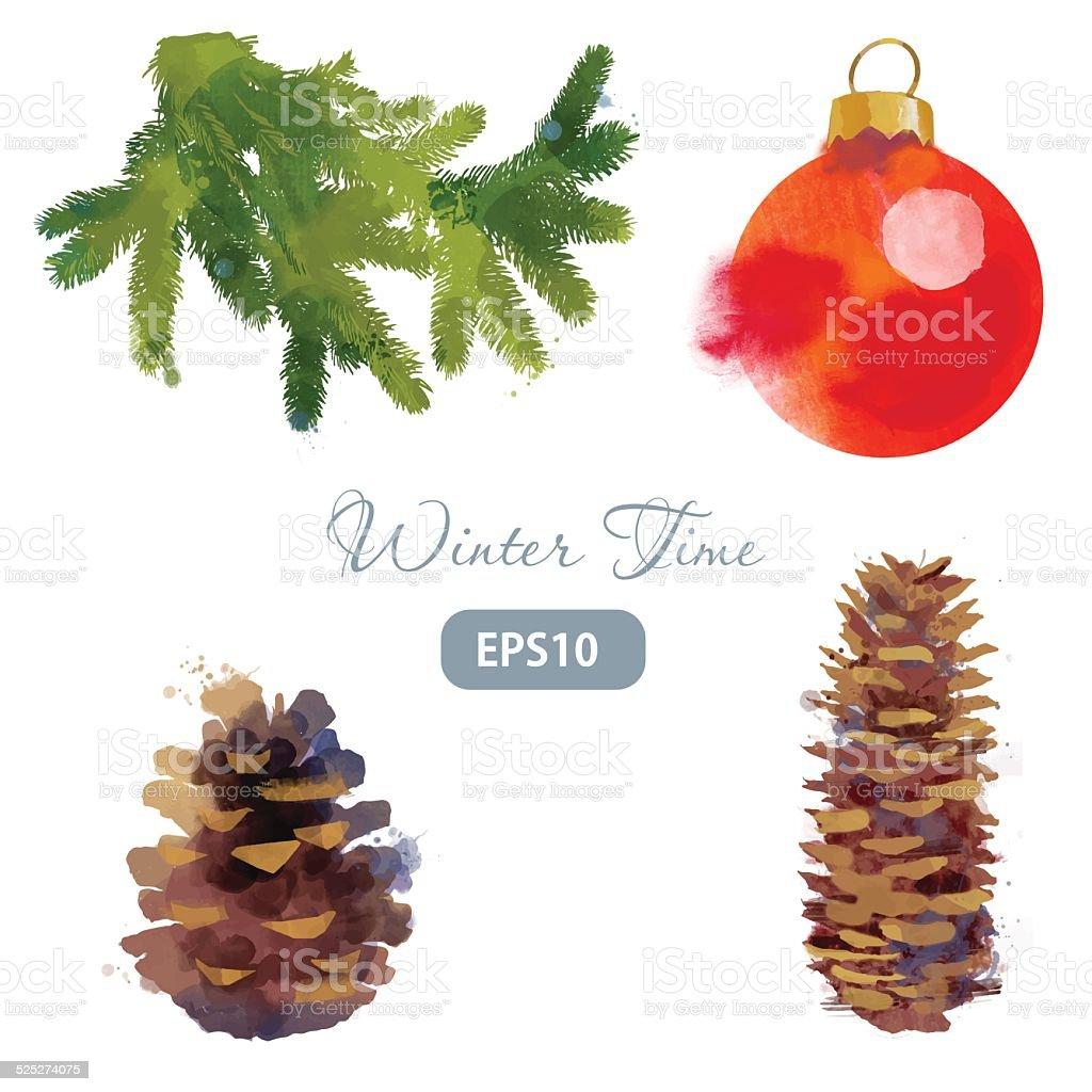 winter time set of  Christmas ball cone tree vector art illustration