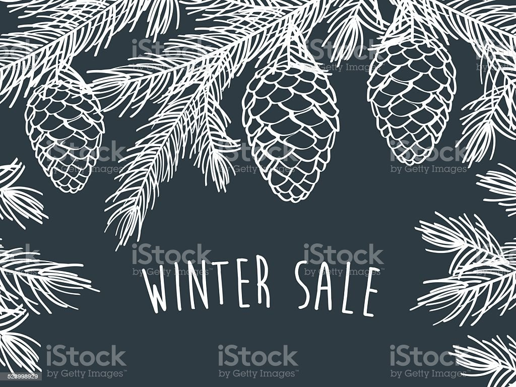 Winter time. Winter background with pine branches with cones. vector art illustration
