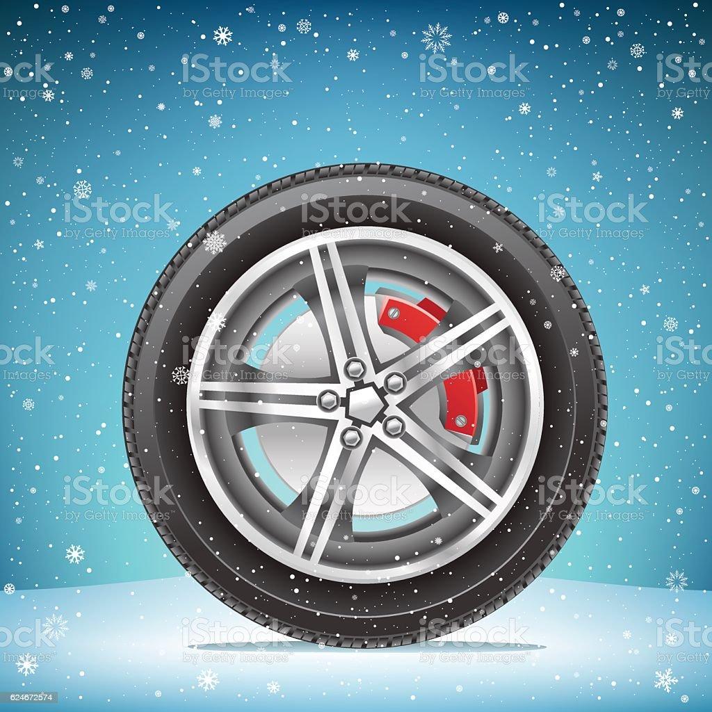 winter tire on snowy background vector art illustration