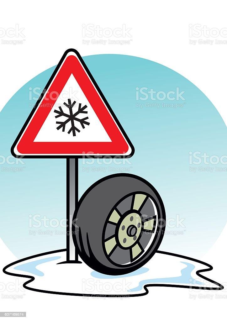 winter tire vector art illustration