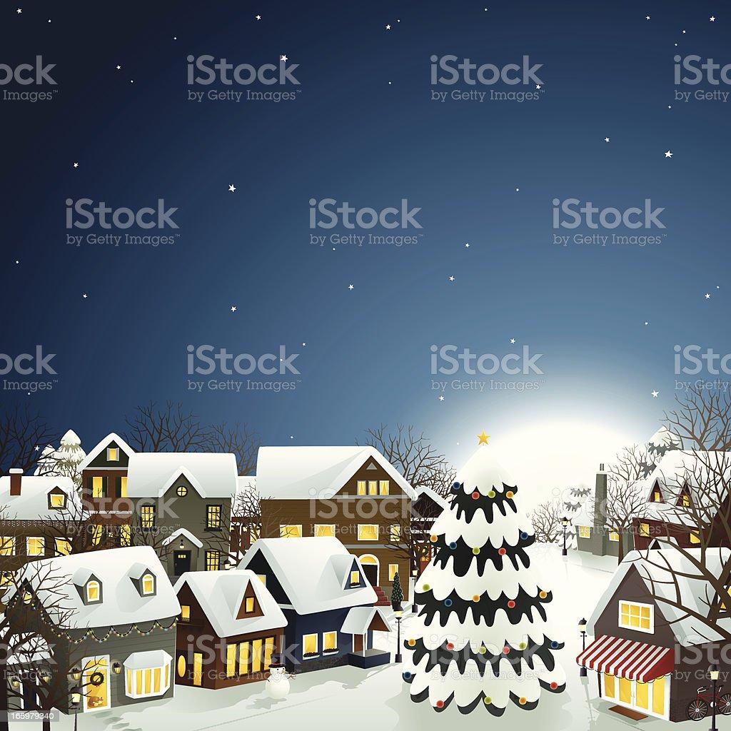 Winter Town - EPS8 vector art illustration