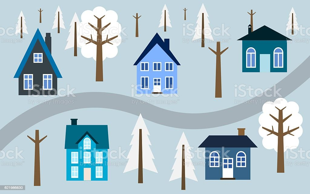 Winter town vector art illustration