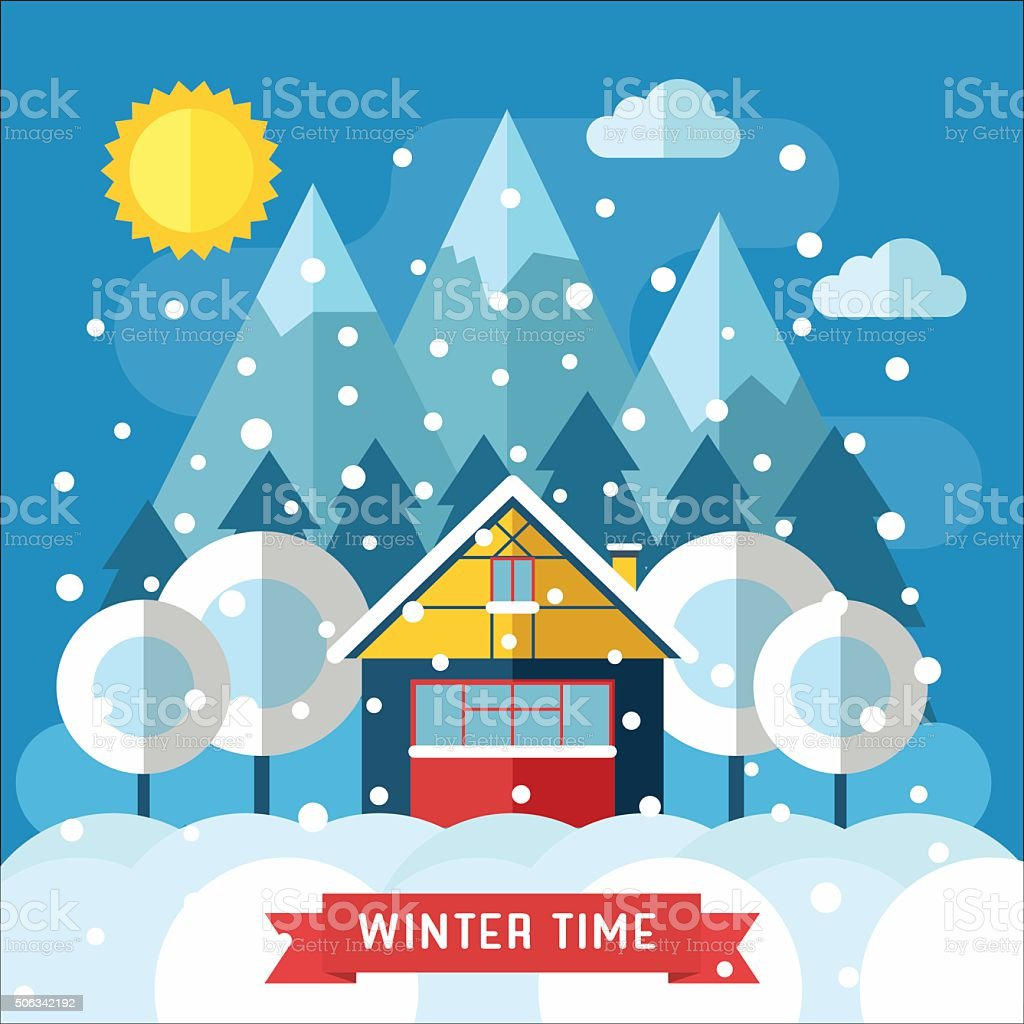 Winter Traditional House Flat Landscape vector art illustration