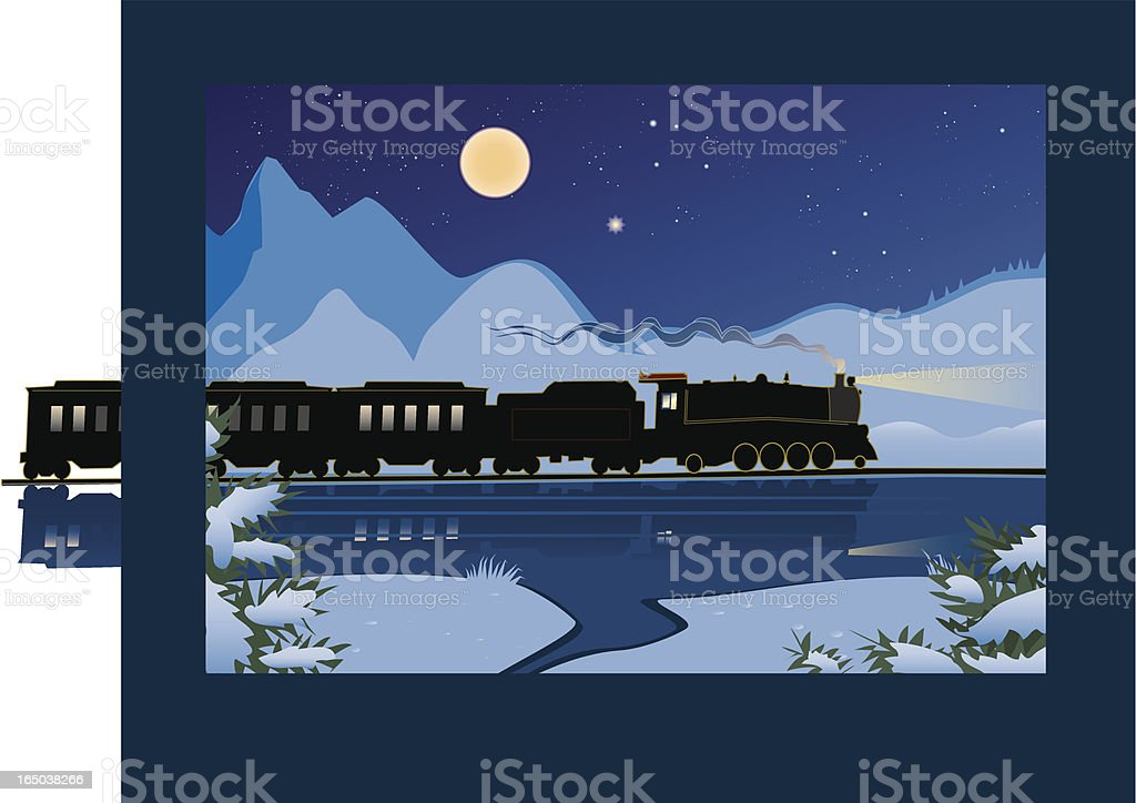 Winter Train vector art illustration