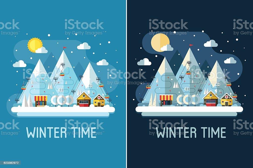 Winter Travel Landscape with Ski Resort vector art illustration