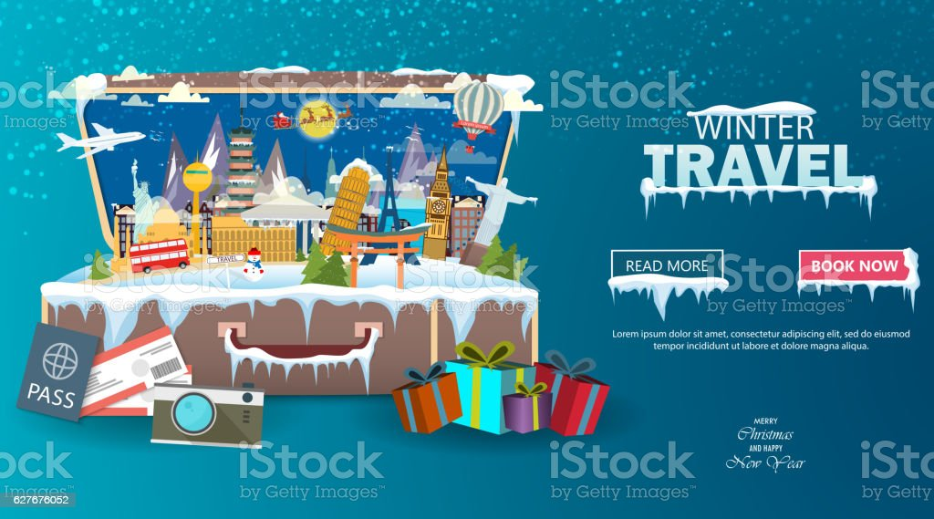 Winter travel. Travel to World. Vacation. Road trip. Tourism vector art illustration