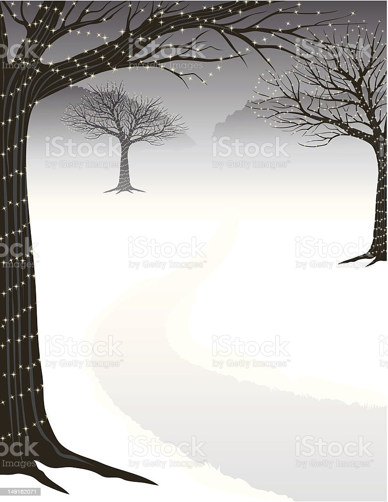 Winter Tree Lights royalty-free stock vector art