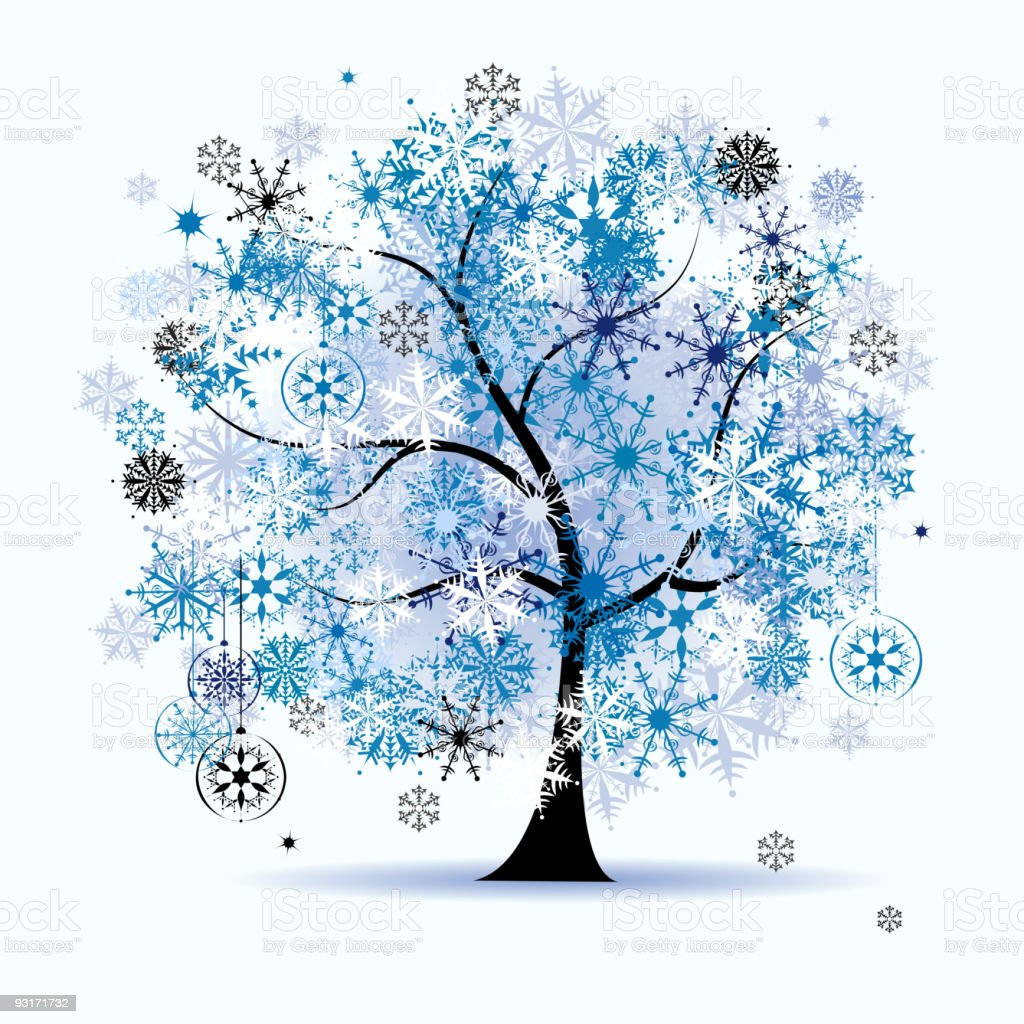 Winter tree, snowflakes. Christmas holiday. royalty-free stock vector art