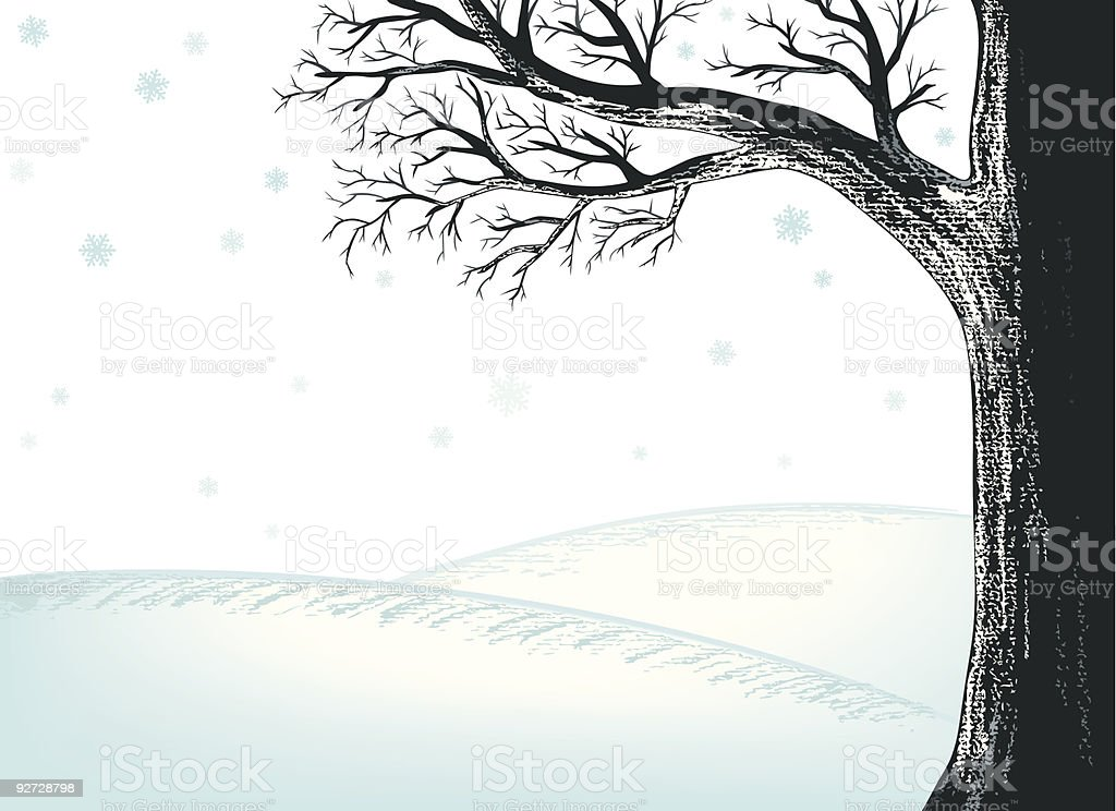 Winter Tree with Blue Snow vector art illustration