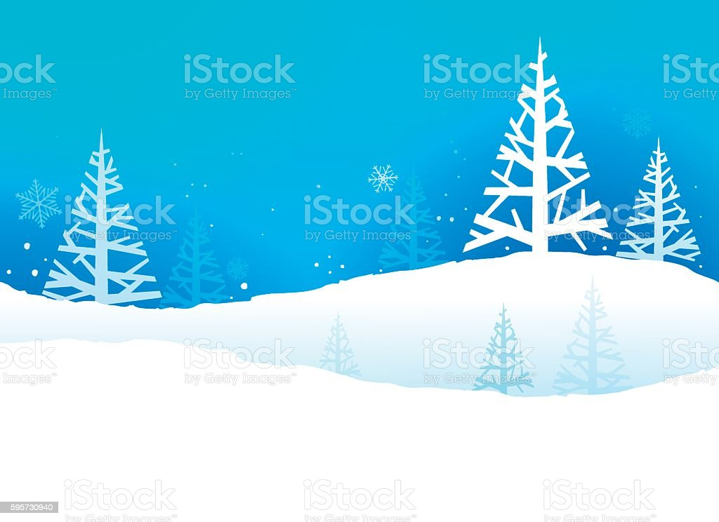 Winter Trees Holidays Background vector art illustration