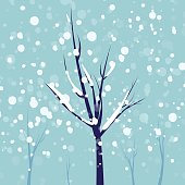 Winter trees on a snowing day