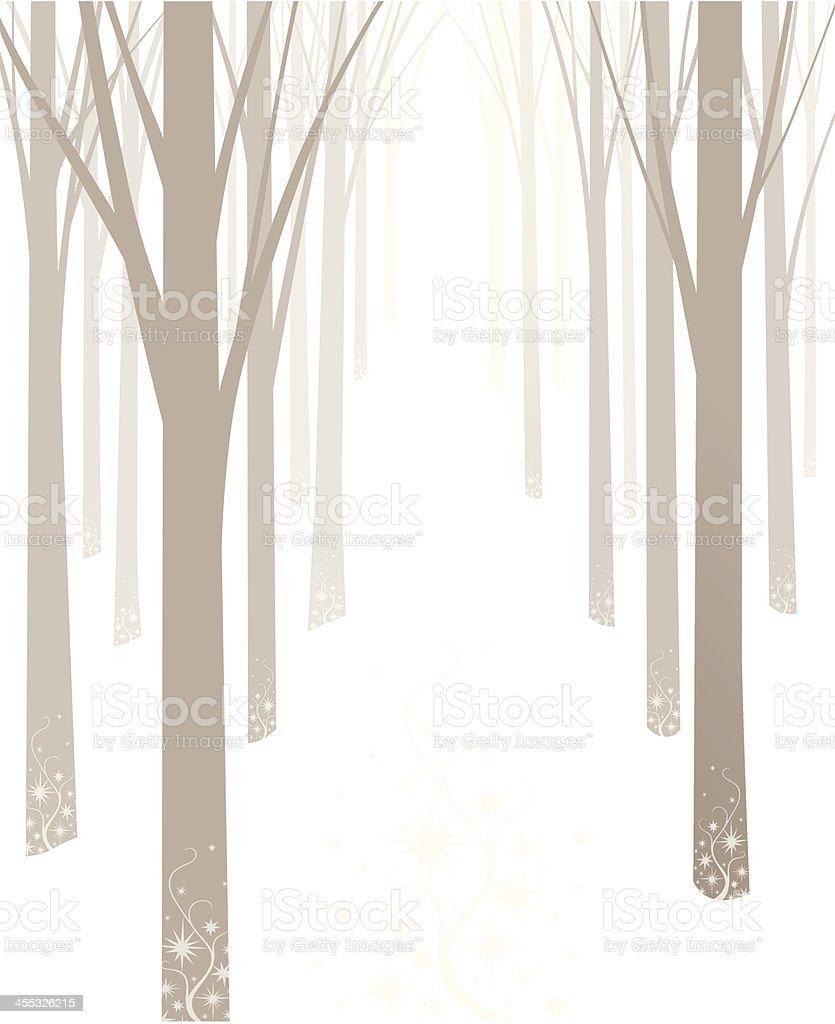 Winter Trees vector art illustration