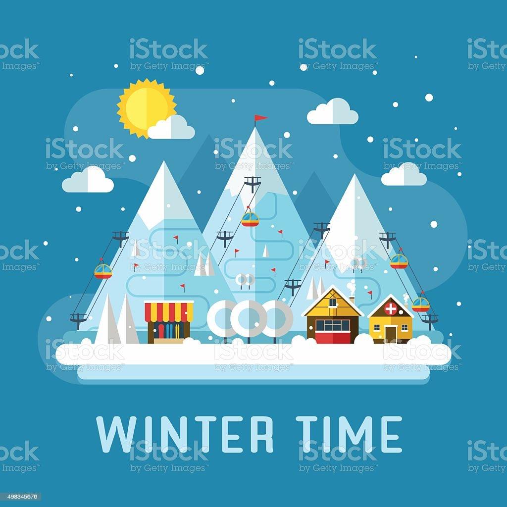 Winter Vacation Flat Landscape vector art illustration