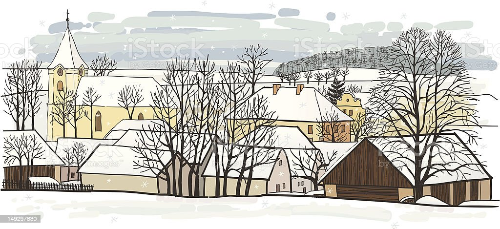 Winter village royalty-free stock vector art