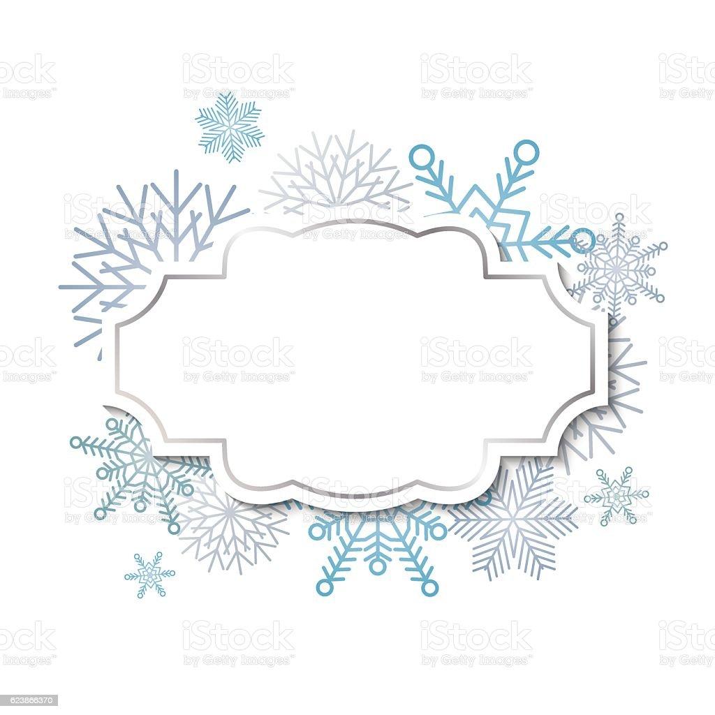 Winter vintage label on snowflakes background vector art illustration