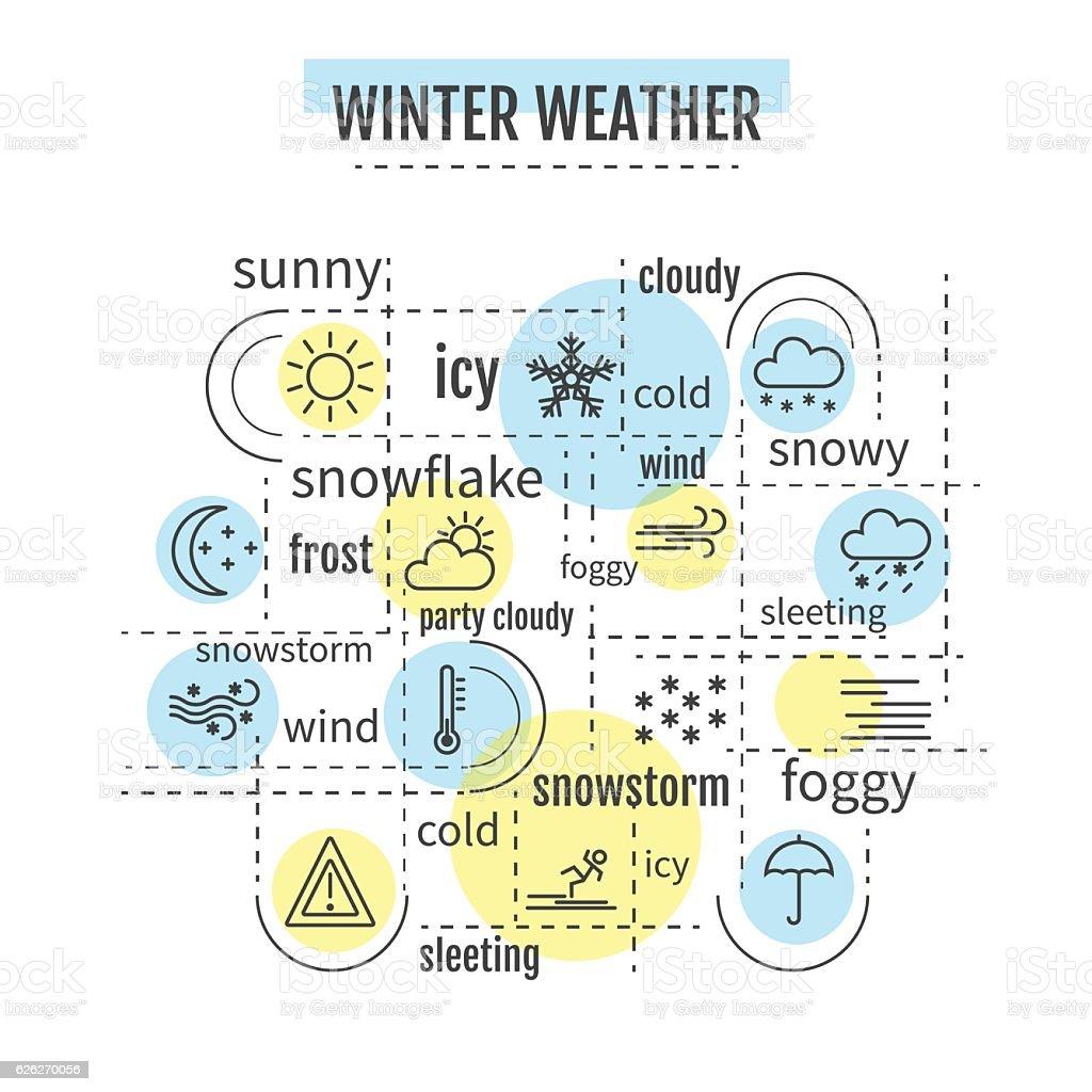 winter weather infographic vector art illustration