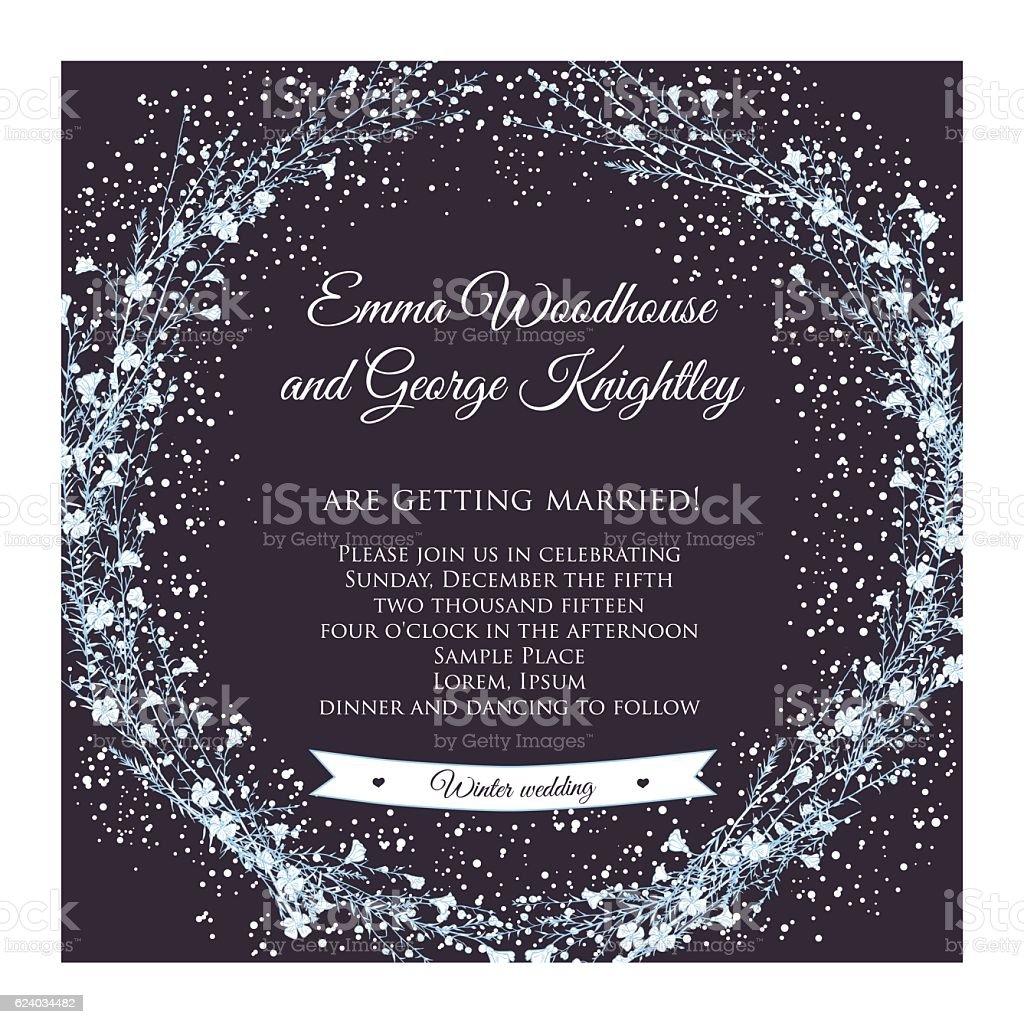 winter wedding invitation card vector art illustration
