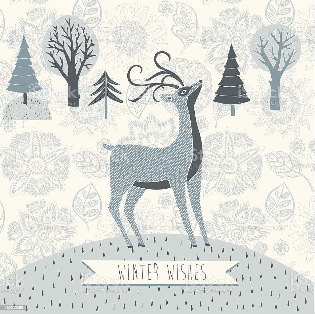 Winter Wishes vector greeting card design royalty-free stock vector art