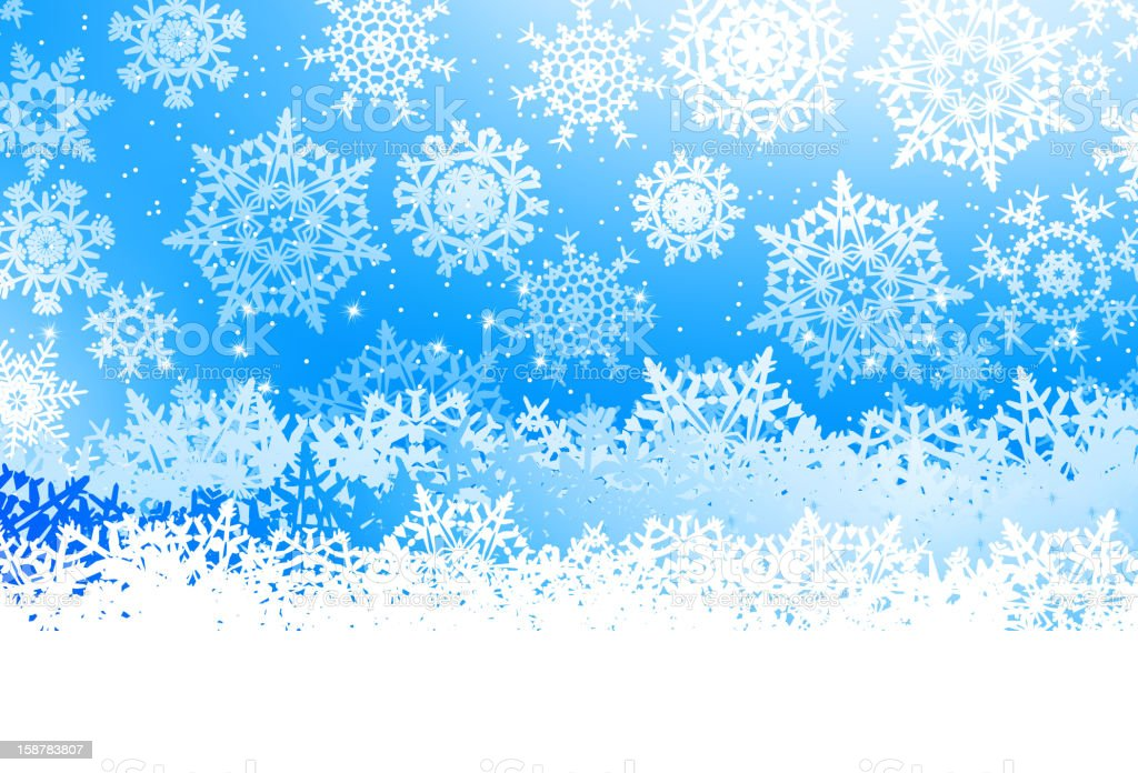 Winter with many falling snowflakes. EPS 8 royalty-free stock photo