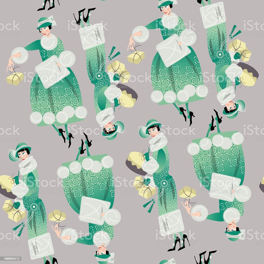 Winter. Woman shopping. Retro style. Art deco. Seamless background pattern. vector art illustration