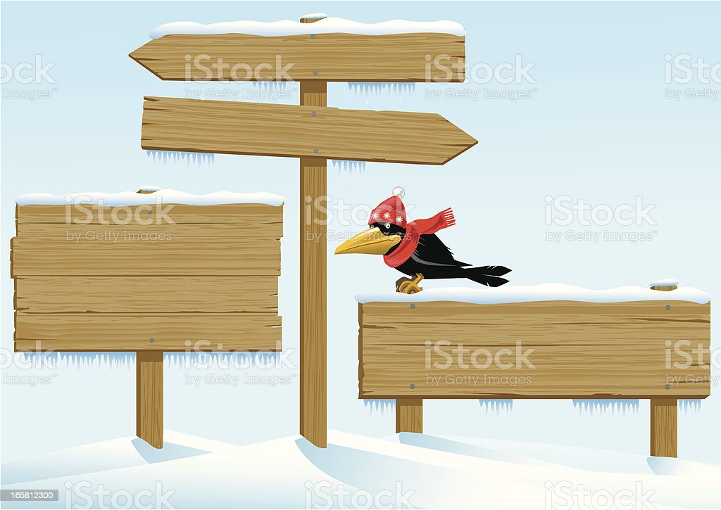 Winter Wooden Signs with a Crow vector art illustration